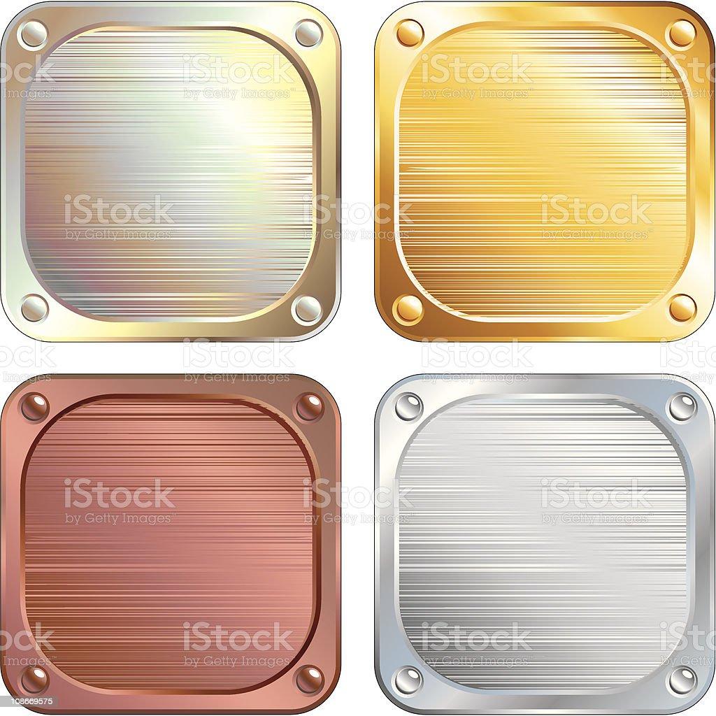 Metallic Plates vector art illustration