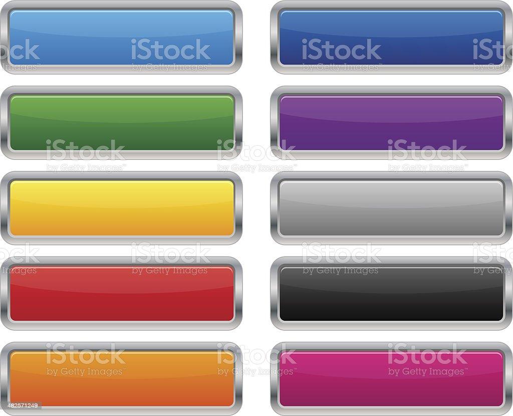 Metallic rectangular buttons vector art illustration