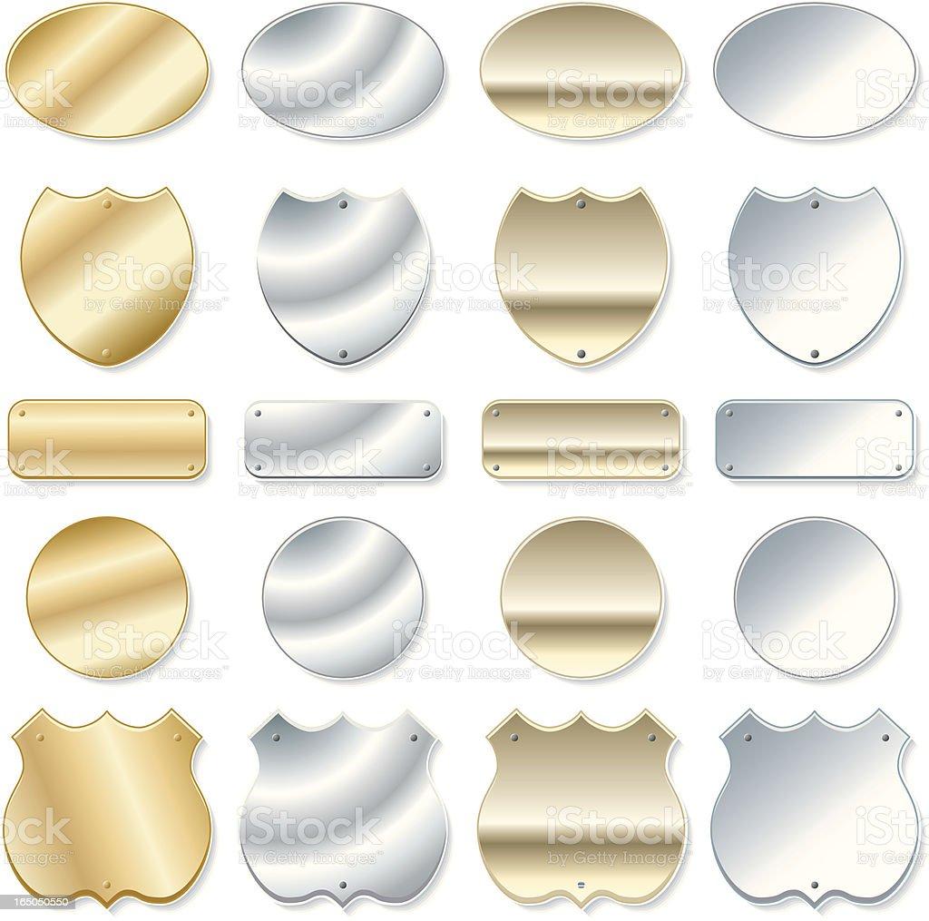 Metallic Shields vector art illustration