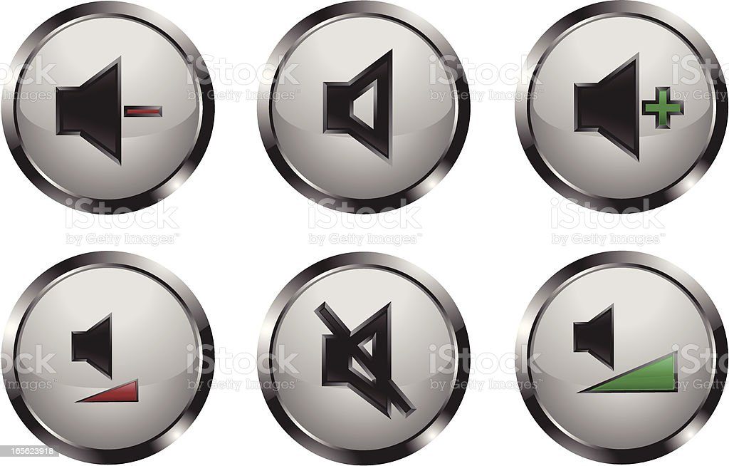 Metallic Shiny Media Player Buttons royalty-free stock vector art
