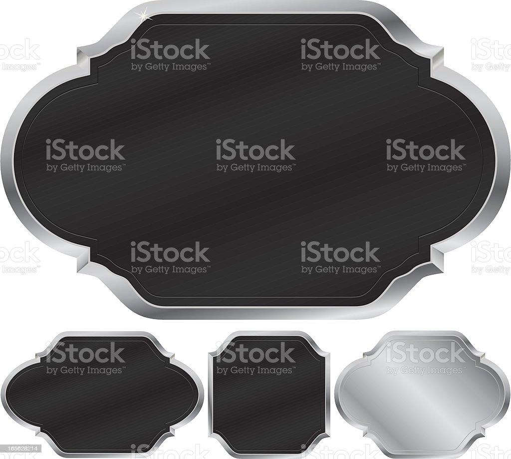 Metallic-Silber und schwarze Zeichen, Embleme und Symbole-Design-Elemente-Set Lizenzfreies vektor illustration