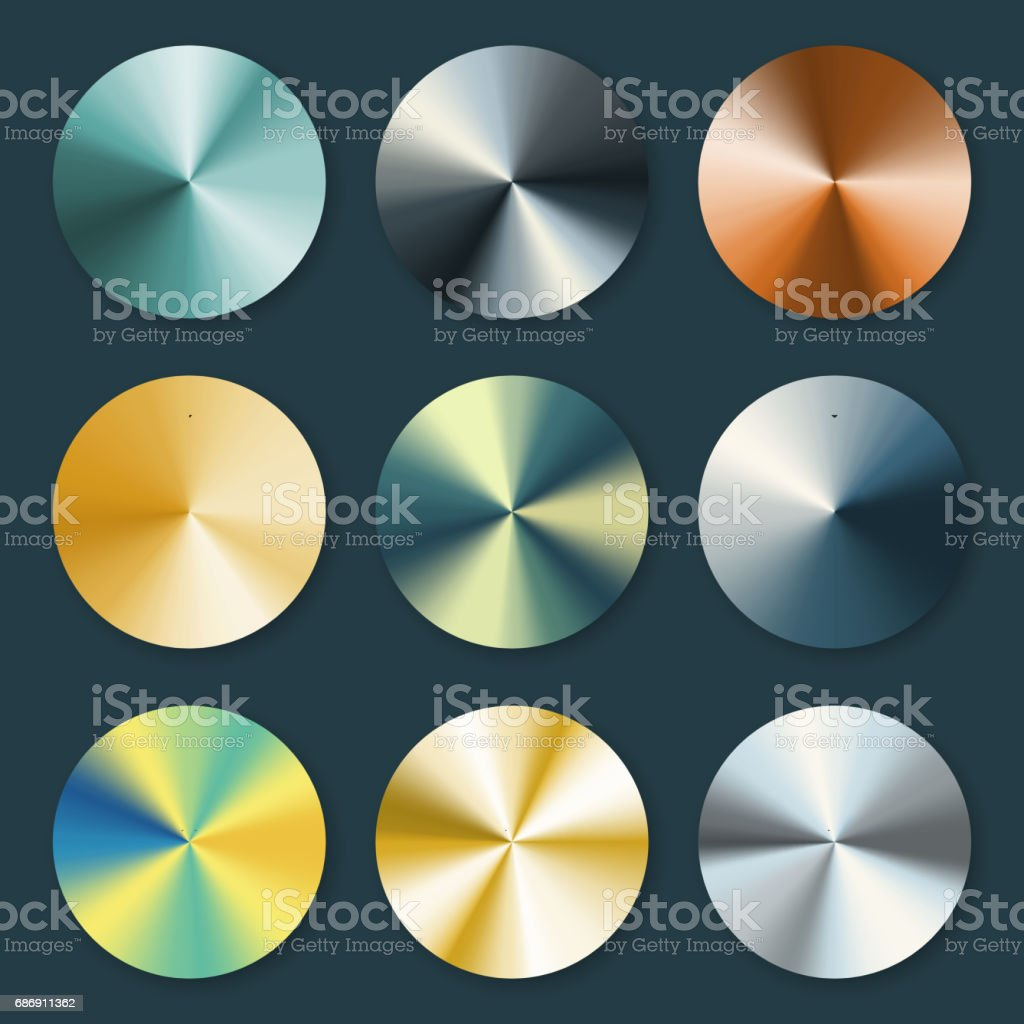 Metallic silver and gold conical metal vector gradients vector art illustration