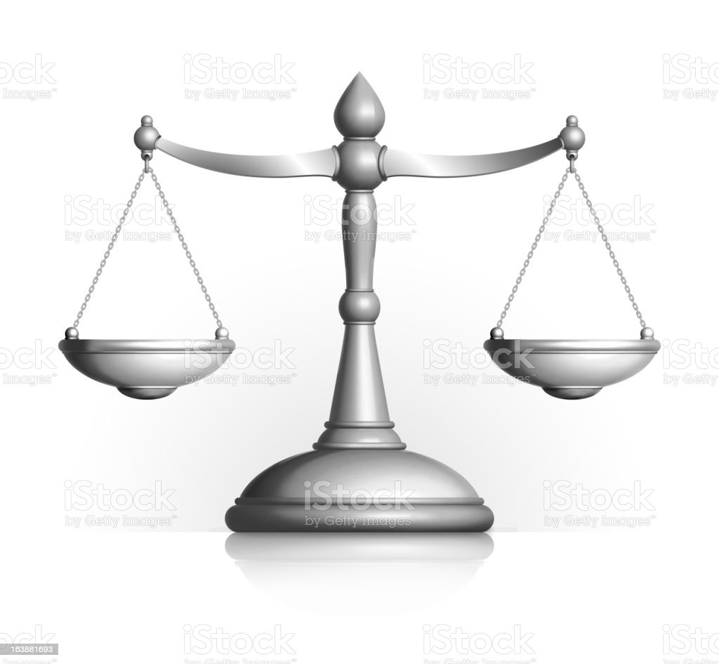 Metallic Silver Scale of Justice on white Background vector art illustration