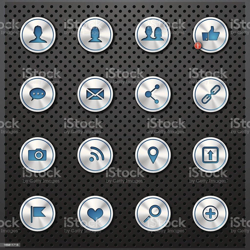 Metallic social buttons royalty-free stock vector art