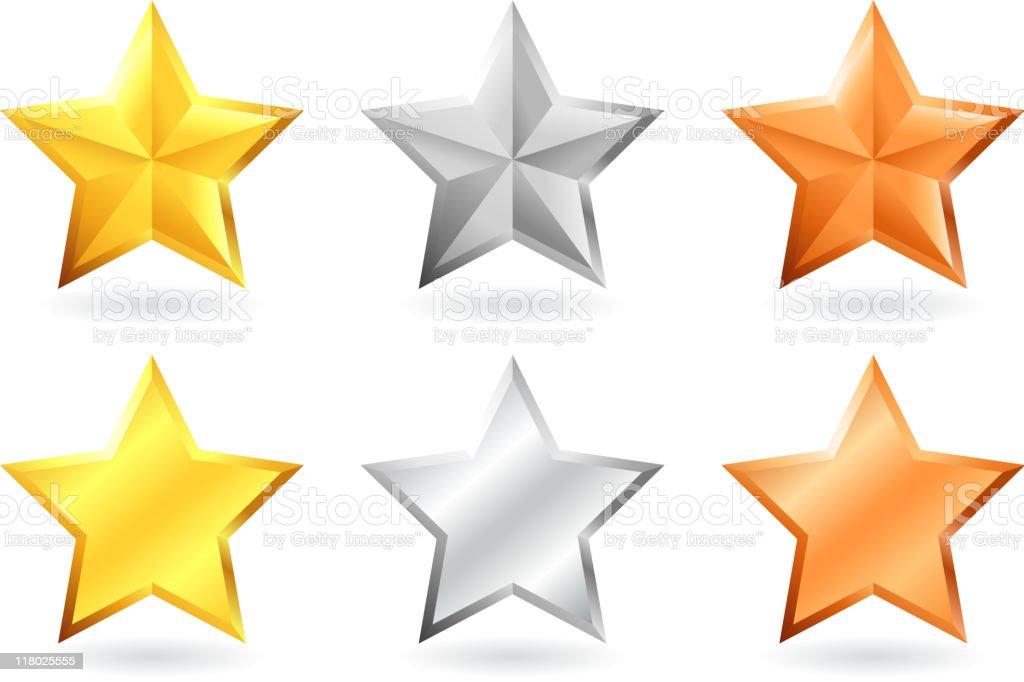 metallic star designs in gold silver and bronze vector art illustration