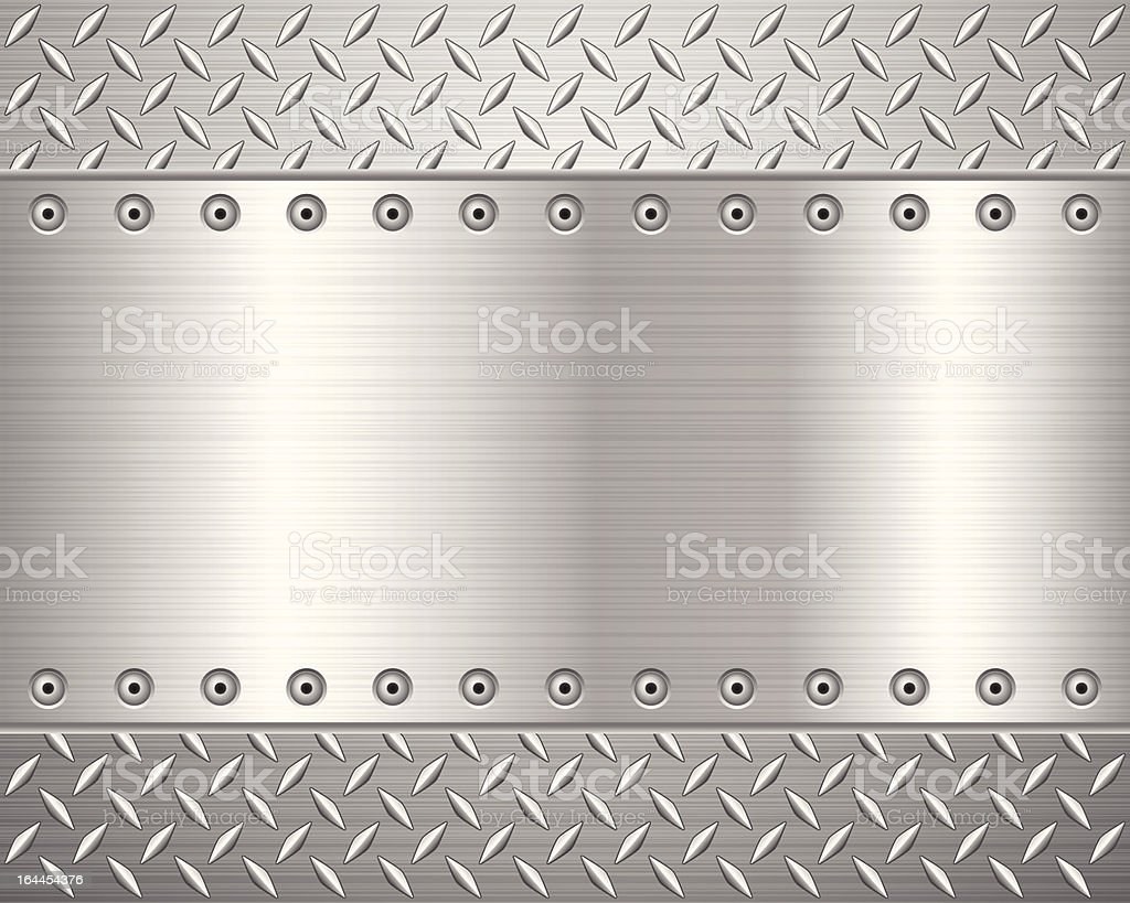 A metallic surface with engraved patterns for friction vector art illustration