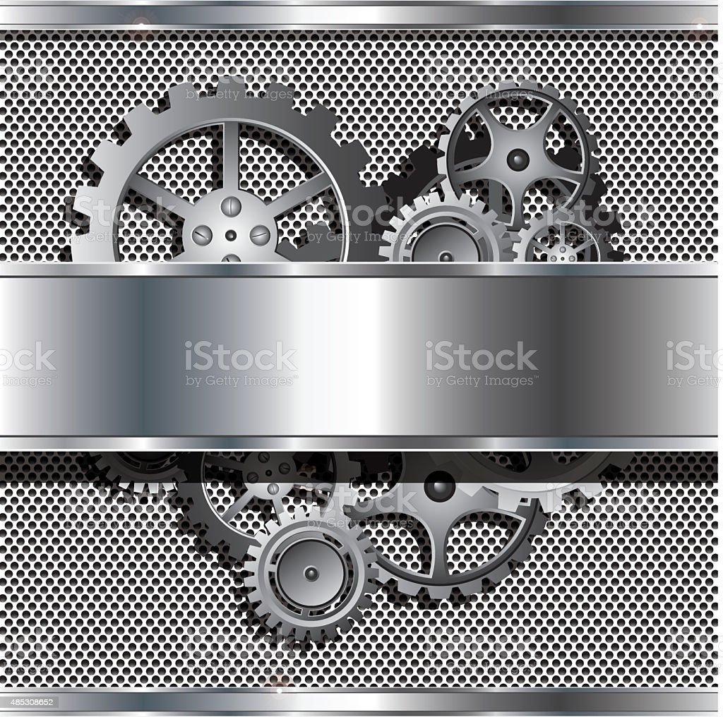 Metallic texture and stainless steel with cog gears vector art illustration