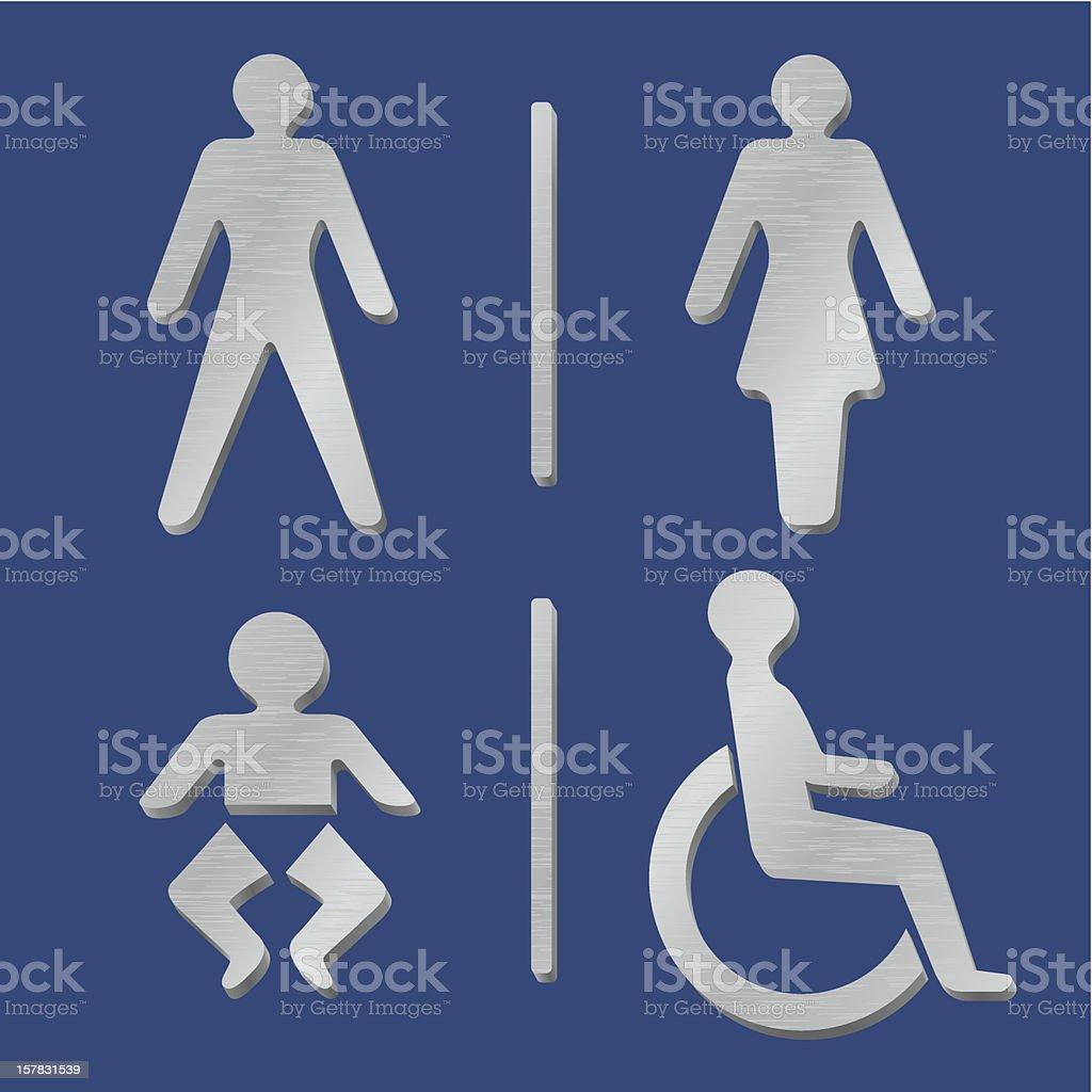 metallic toilet icons royalty-free stock vector art