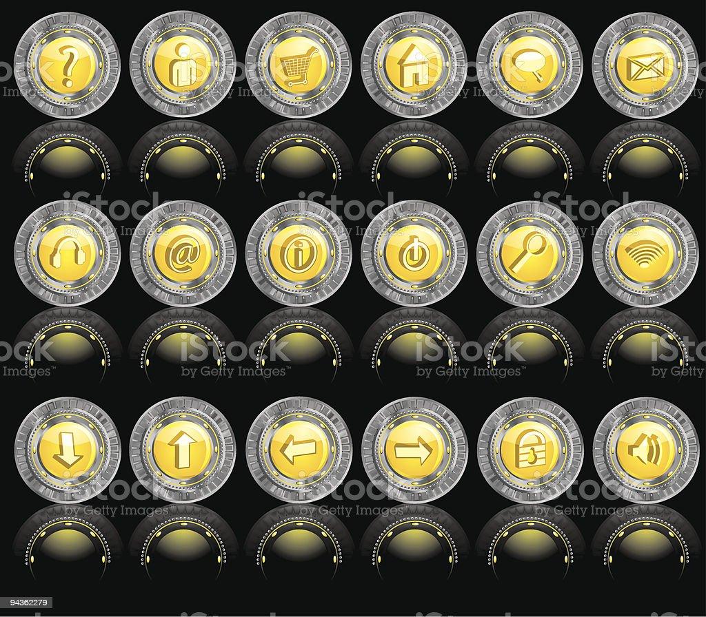 Metallic Web Icons royalty-free stock vector art