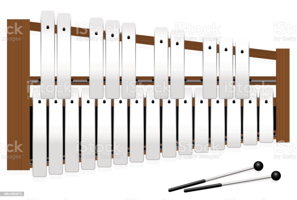 Metallophone with metal bars - top view - three octaves in c major with fifteen whole tones and ten halftones - plus two percussion mallets - illustrated vector illustration on white background. vector art illustration