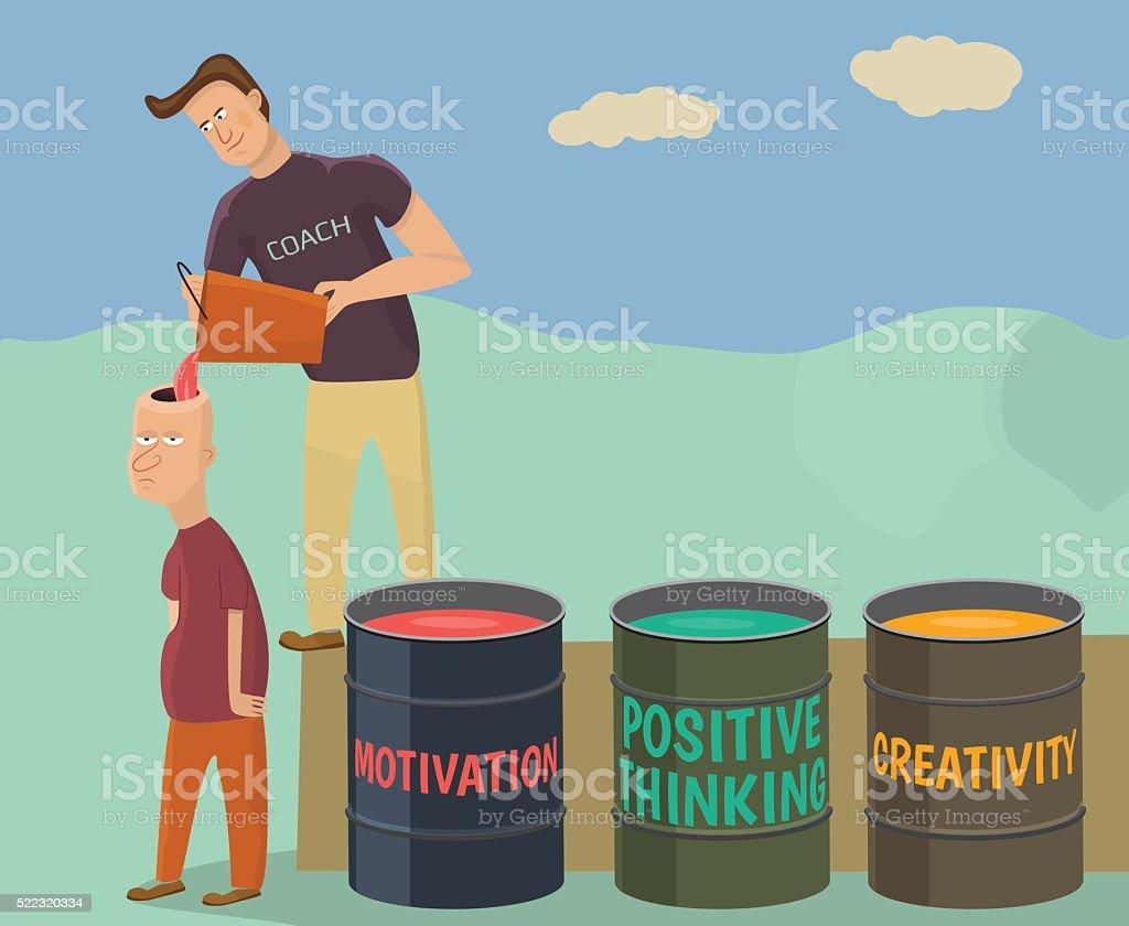 Metaphor about coaching. vector art illustration
