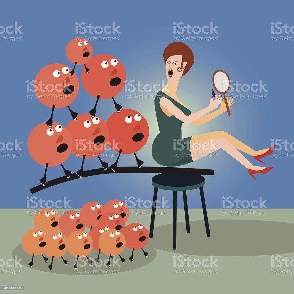 Metaphor Pretty Lady vector art illustration