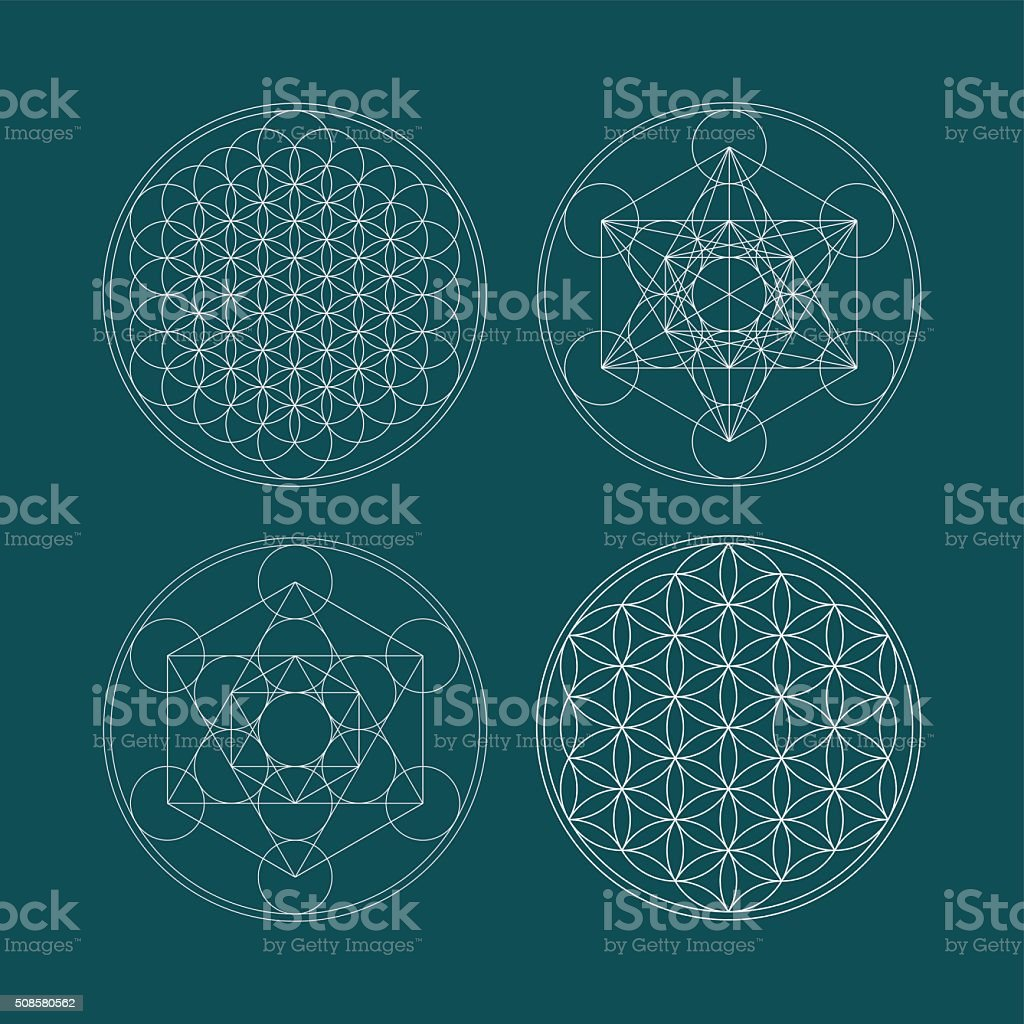 Metatrons Cube and Flower of life. vector art illustration
