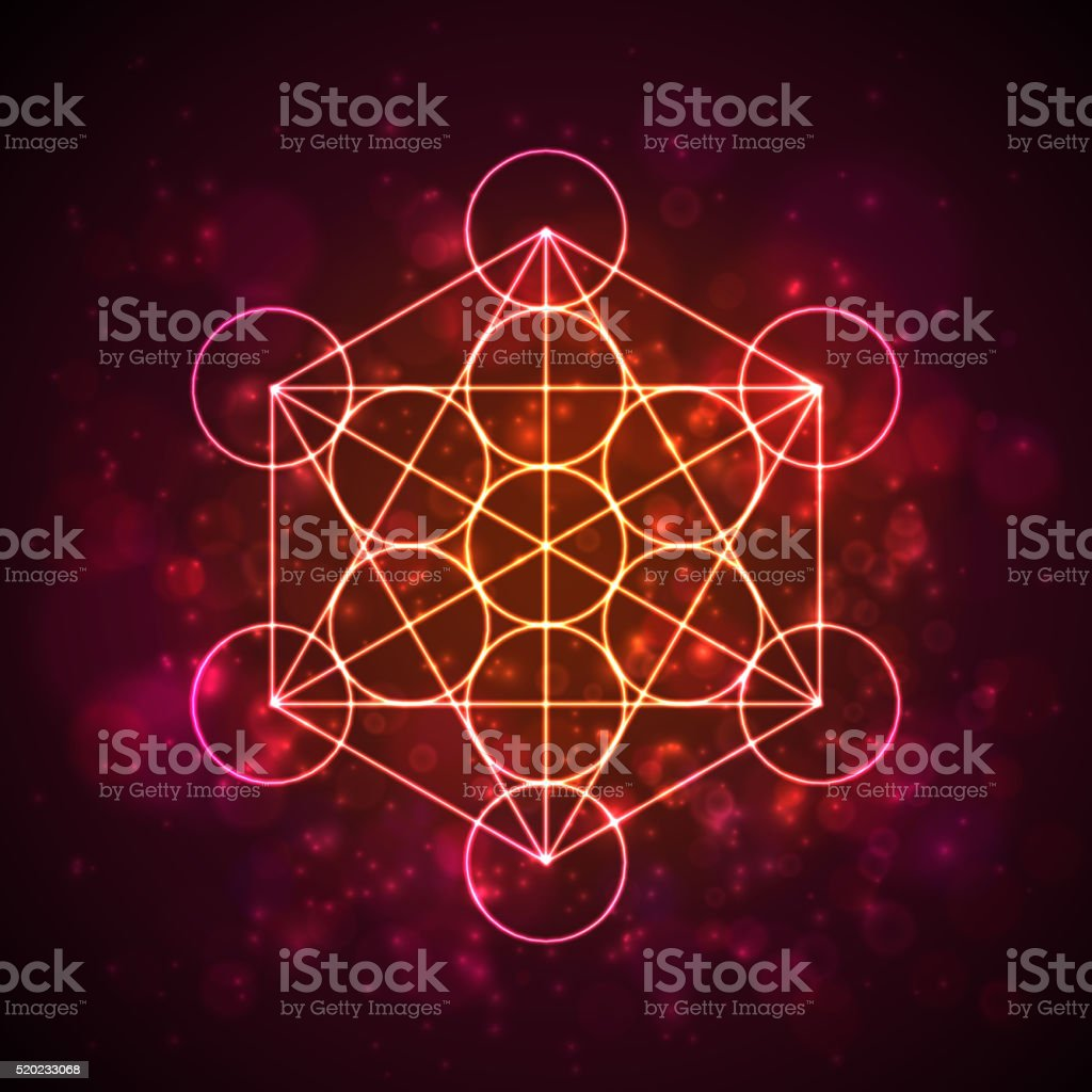 Metatrons Cube - Flower of Life.  Vector vector art illustration