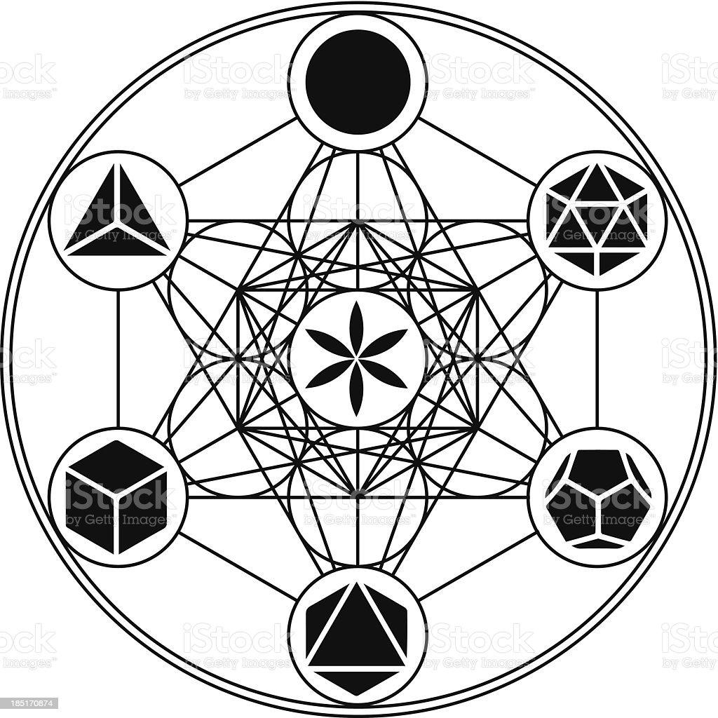 Metatrons Cube - Platonic Solids vector art illustration