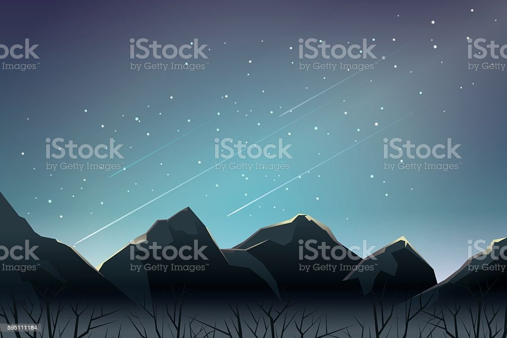 meteor shower and starry night over mountain vector art illustration