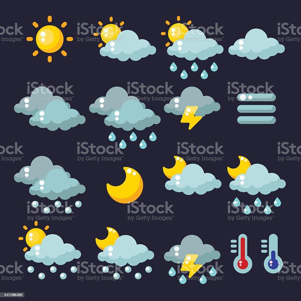 Meteorology icons set. Vector illustration vector art illustration