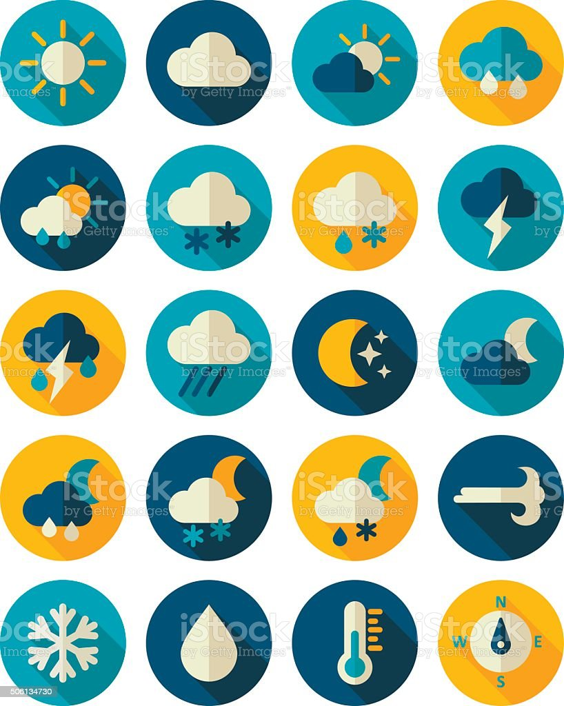 Meteorology Weather flat icons set vector art illustration