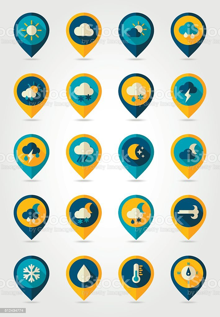 Meteorology Weather flat pin map icons set vector art illustration