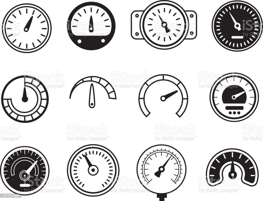 Meter icons. Symbols of speedometers, manometers, tachometers etc. vector illustration vector art illustration