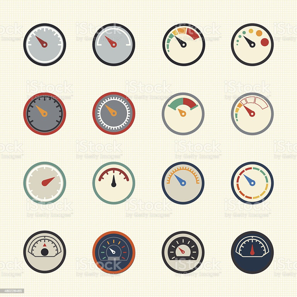 Meter icons. Vector vector art illustration