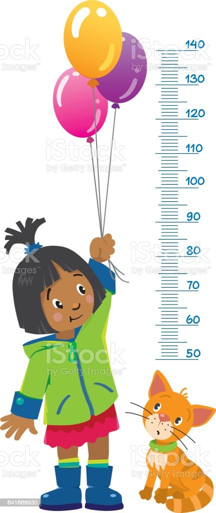 Meter wall or height chart with girl and kitten vector art illustration