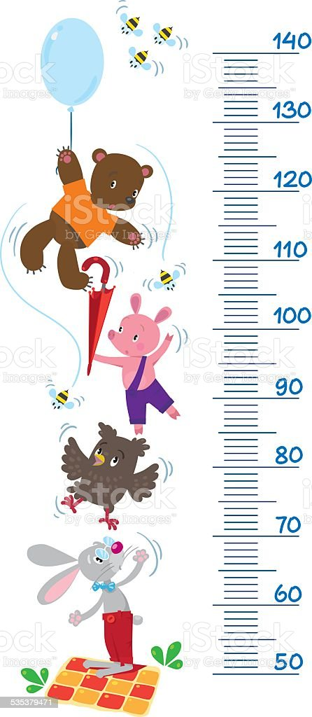 Meter wall with funny animals vector art illustration
