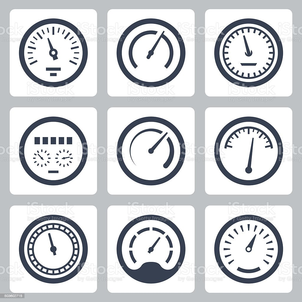 Meters vector icons set #2 vector art illustration