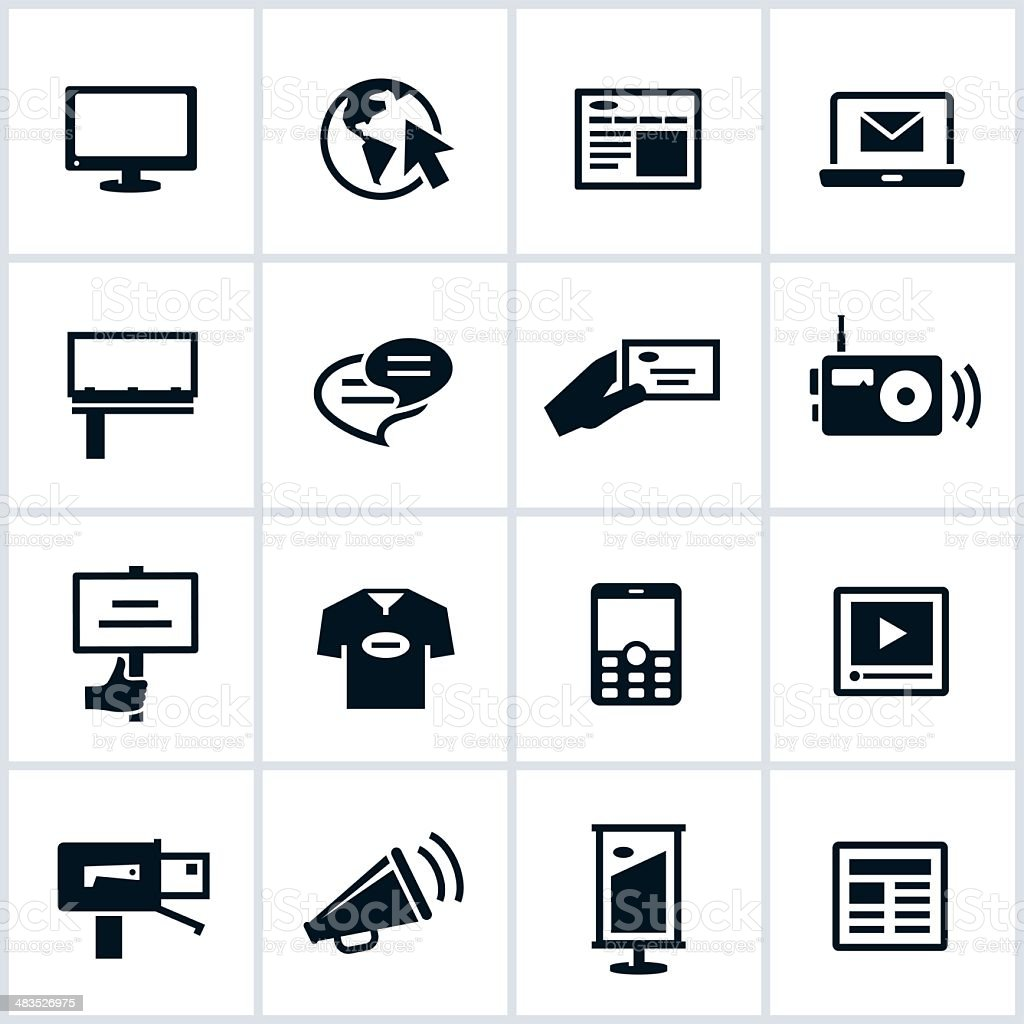 Methods of Advertising Icons vector art illustration