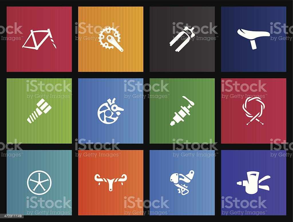 Metro Icons - Bicycle Parts vector art illustration