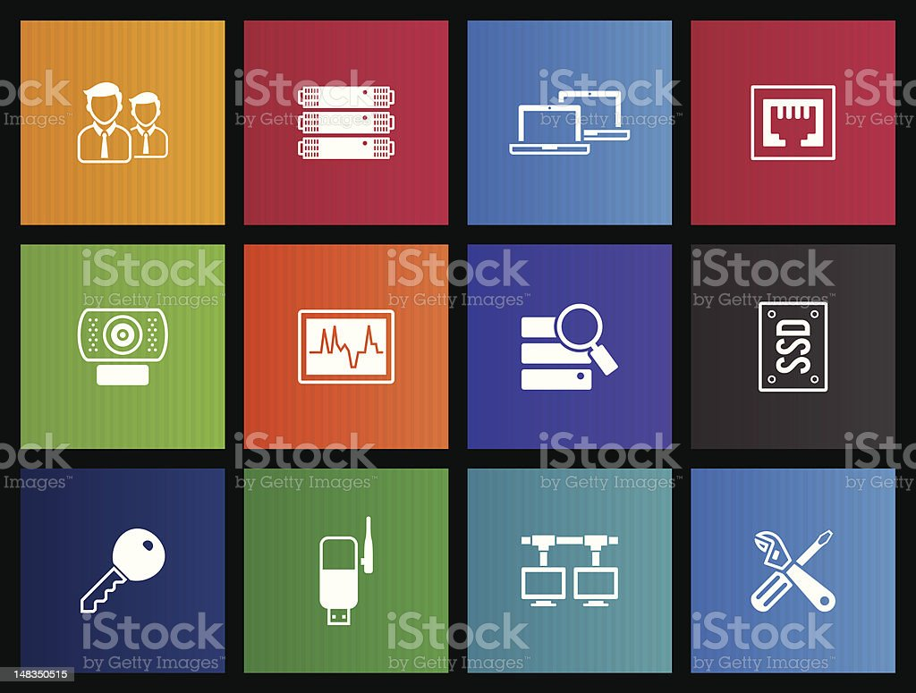 Metro Icons - More Computer Network vector art illustration