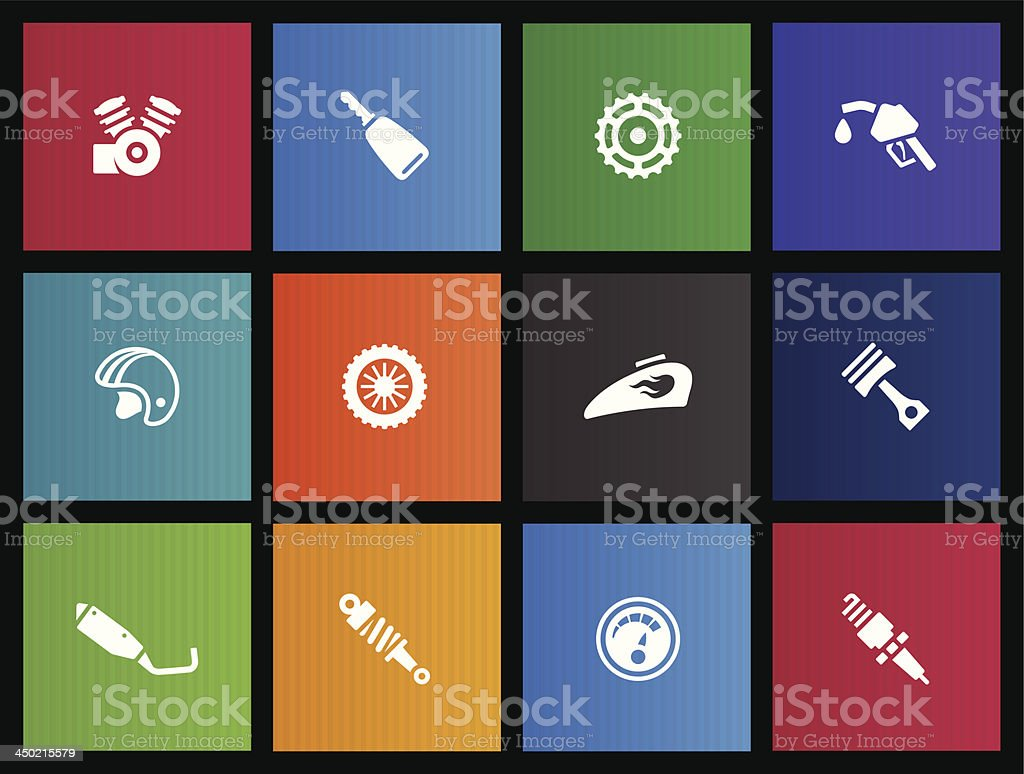 Metro Icons - Motorcycle Parts vector art illustration