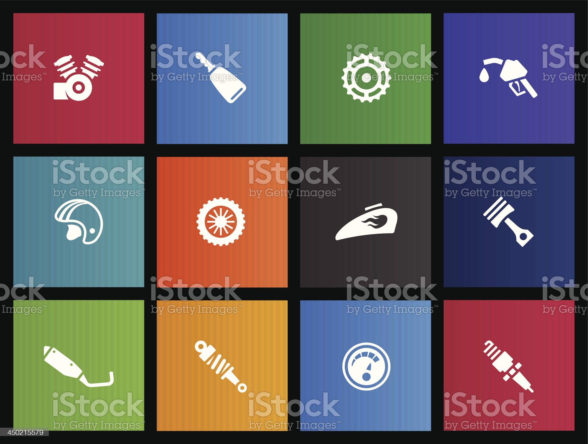 Metro Icons - Motorcycle Parts royalty-free stock vector art