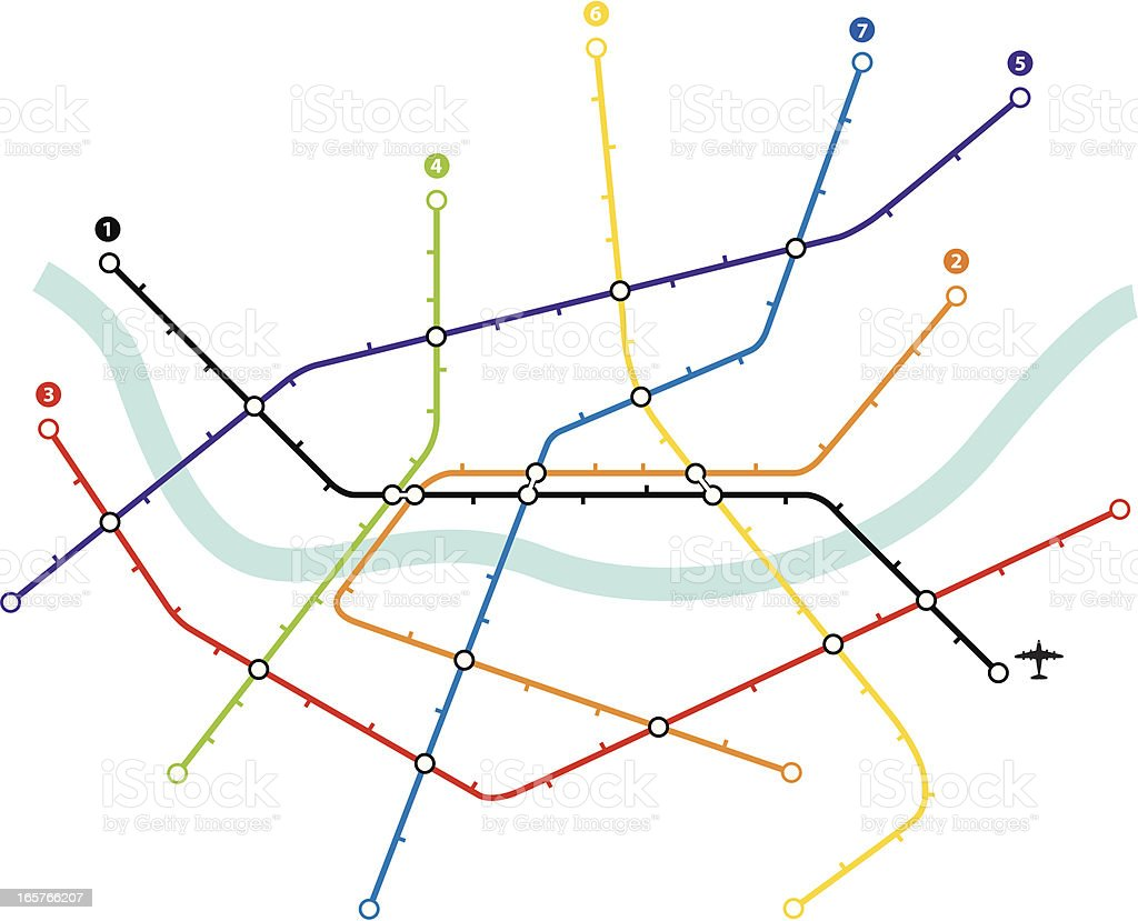 Metro map vector art illustration
