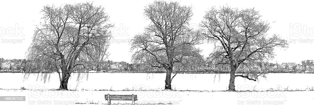 Metro Park with Willow Trees and Bench vector art illustration