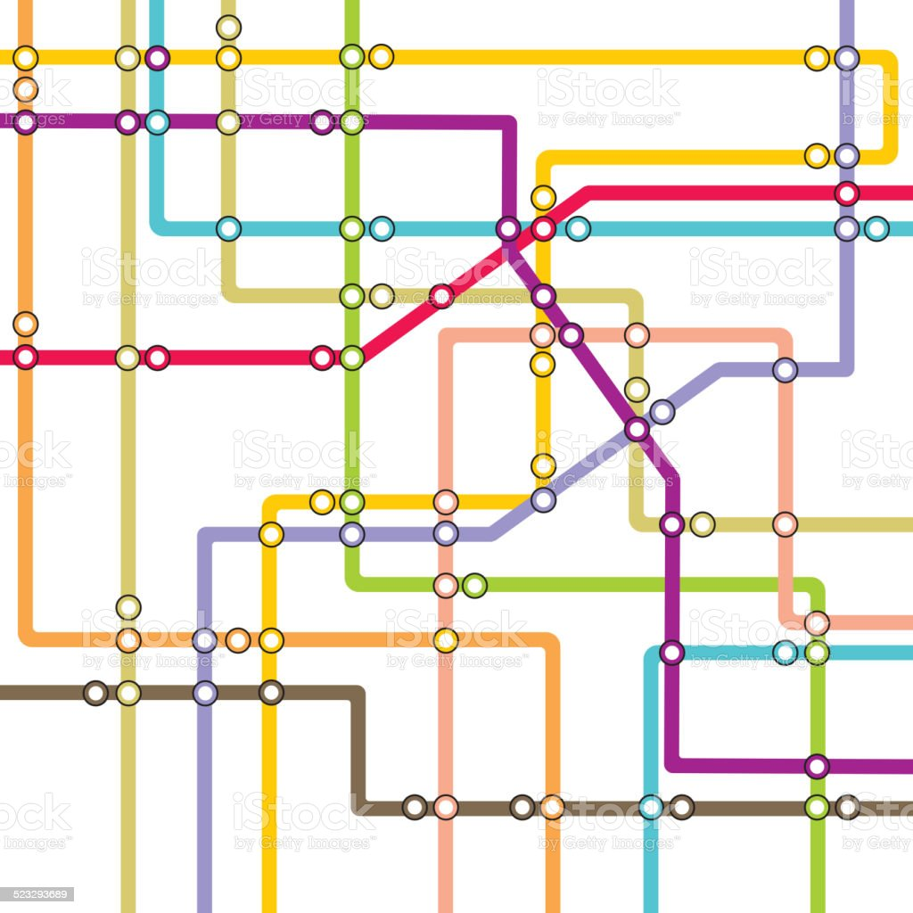Metro scheme - subway map vector art illustration