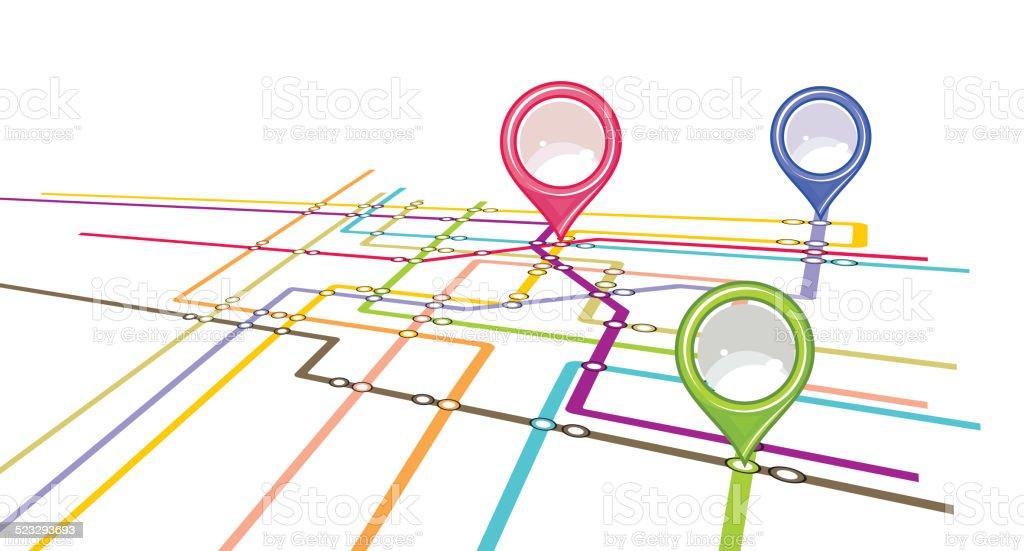 Metro scheme - subway map vector art illustration