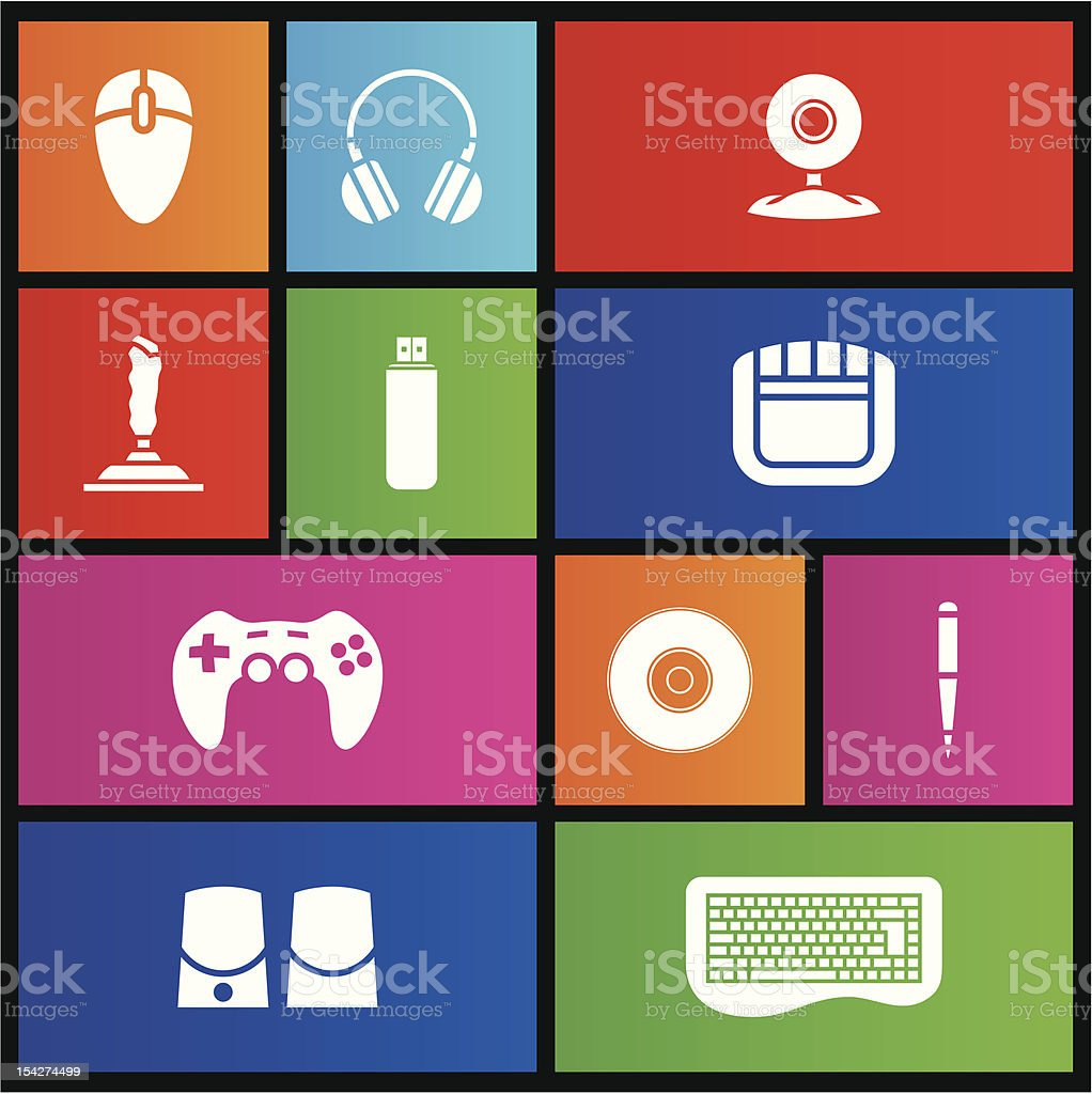 Métro style des accessoires PC stock vecteur libres de droits libre de droits