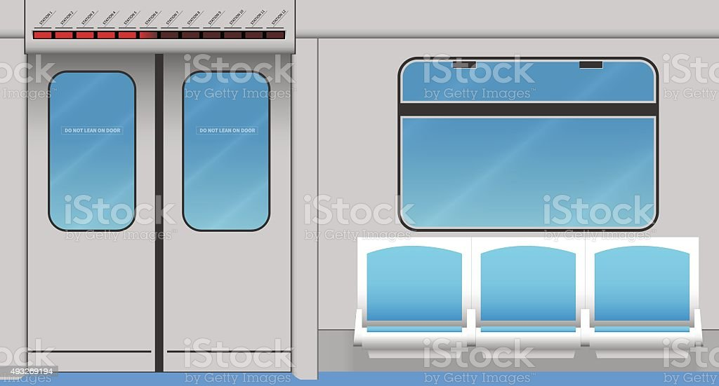 Metro train interior vector art illustration