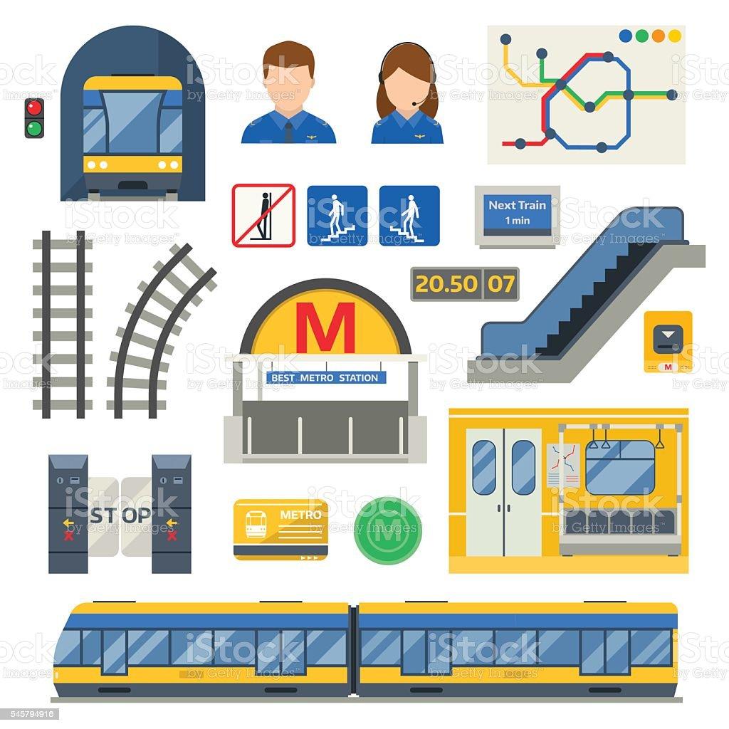 Metro underground symbols vector set. vector art illustration