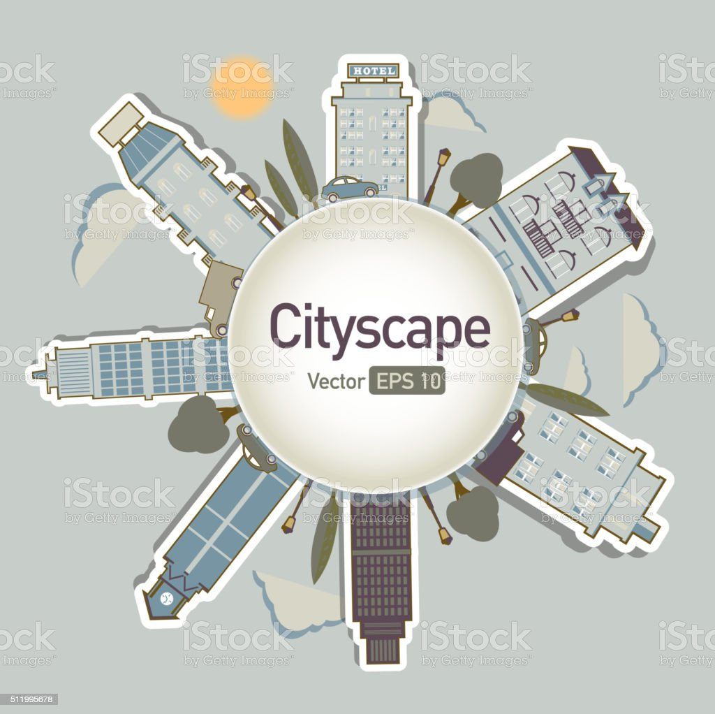 Metropolitan Cityscape architecture building elements in a circle vector art illustration