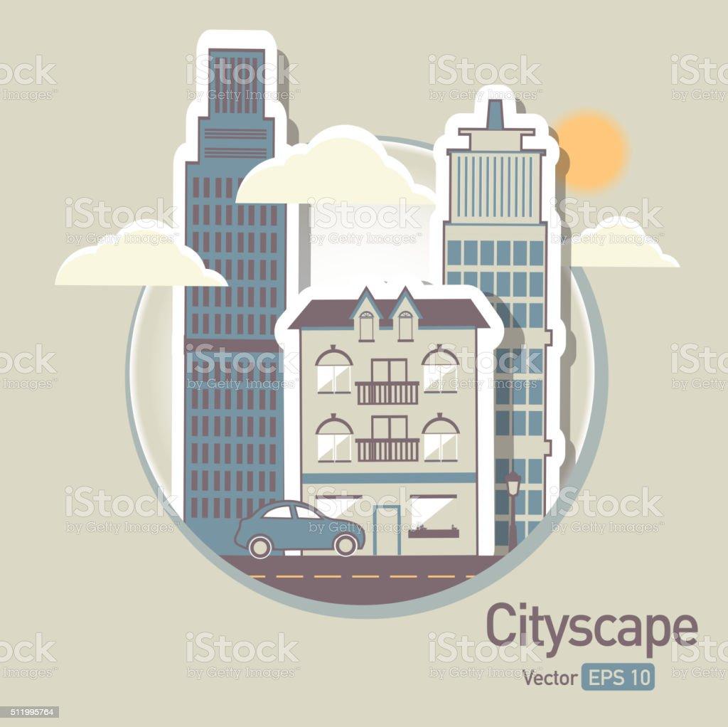 Metropolitan Cityscape architecture building elements in a circle vector art illustration