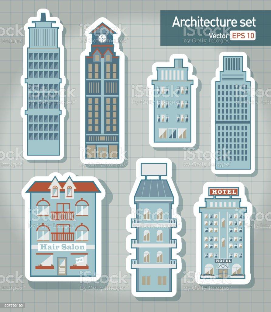 Metropolitan Cityscape architecture building elements set vector art illustration