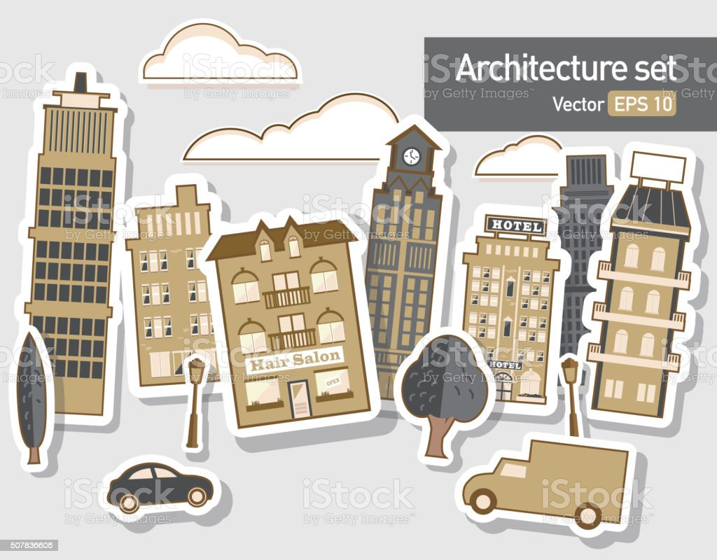 Metropolitan Cityscape architecture building elements set vector art illustration