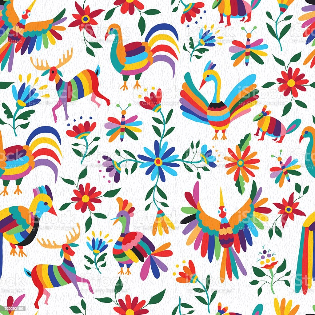 Mexican art pattern with animal and flowers vector art illustration