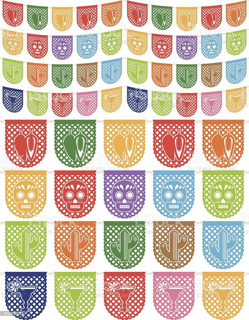 mexican bunting vector art illustration