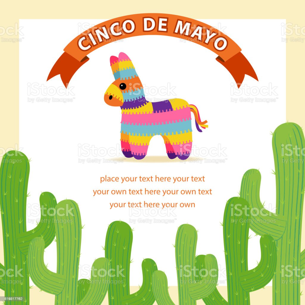 Mexican Cactus & Donkey Pinata vector art illustration