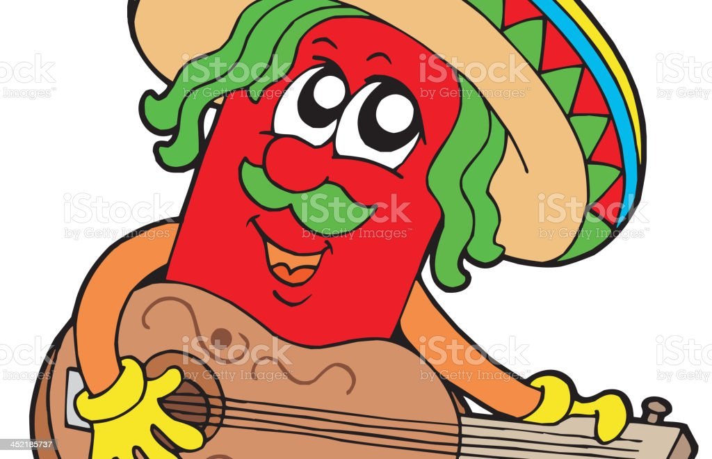 Mexican chilli guitar player royalty-free stock vector art