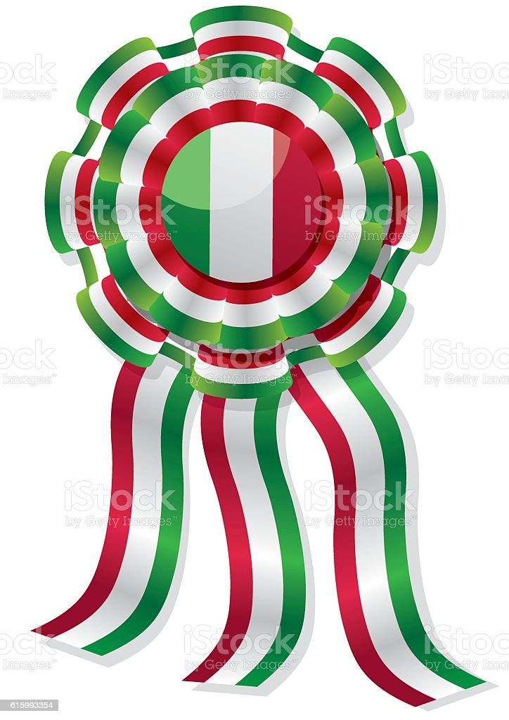 mexican cockade with red green and white stripes vector art illustration