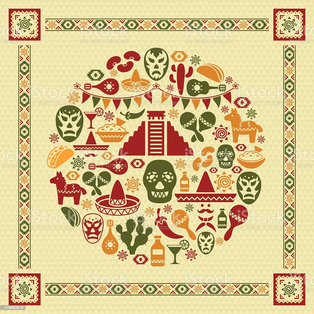 Mexican Collage vector art illustration